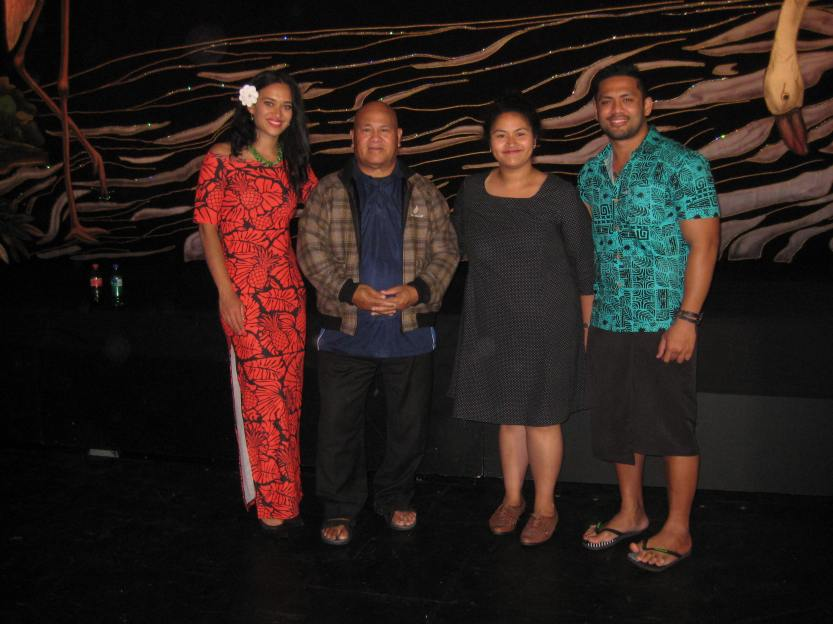 Photo of our director, Louise Tu'u, her dad, Sale and two of the stars, Gloria Ofa Blake and Fesuiai Viliamu